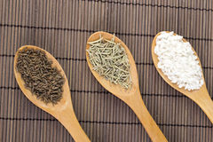 Various spices in wooden spoons. Close up Stock Photography
