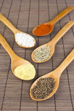 Various spices in wooden spoons Royalty Free Stock Photos
