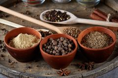 Various spices in wooden spoons and bowls on an old wooden barrel, top view, close-up, selective focus. Various spices in wooden spoons and bowls on an old Royalty Free Stock Photography