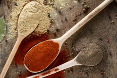 Various spices in wooden spoons and bowls and some salt on an old wooden barrel, top view, close-up, selective focus. Various spices in wooden spoons and bowls Royalty Free Stock Images