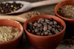 Various spices in wooden spoons and bowls and some salt on an old wooden barrel, top view, close-up, selective focus. Various spices in wooden spoons and bowls royalty free stock photos