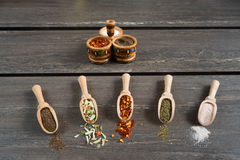 Various of spices and in wooden spoons. Flat lay of spices ingredients chilli, salt, himalayan salt, savory and black pepper. Royalty Free Stock Photos