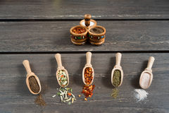 Various of spices and in wooden spoons. Flat lay of spices ingredients chilli, salt, himalayan salt, savory and black pepper. Stock Photos
