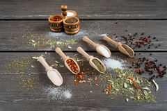 Various of spices and in wooden spoons. Flat lay of spices ingredients chilli, salt, himalayan salt, savory and black pepper. Royalty Free Stock Image