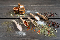Various of spices and in wooden spoons. Flat lay of spices ingredients chilli, salt, himalayan salt, savory and black pepper. royalty free stock images