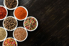 Various spices on wooden spoons Stock Images