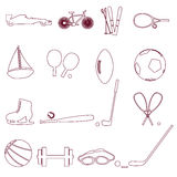 Various sport equipment and tools outline icons eps10 Royalty Free Stock Photos