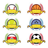 Various sport icon winning badges. Winners concept, vector illustration Stock Photo