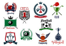 Various sports emblems and icons design Stock Photo