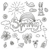 Various Spring Doodles Stock Images
