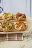 Various Square puff pastry bun with filling Royalty Free Stock Photography