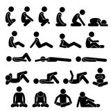 Various Squatting Sitting Lying Down On The Floor Postures Positions Human Man People Stick Figure Stickman Pictogram Icons Royalty Free Stock Photography