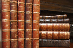 Various stacks of antique books Stock Photo
