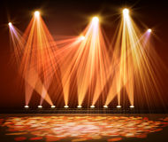 Various stage lights in the dark. Spotlight on stage. Stock Photography