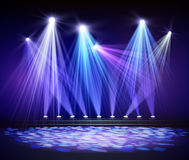 Various stage lights in the dark. Spotlight on stage. Stock Image