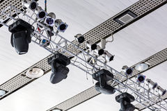 Various stage lights on stage Royalty Free Stock Photos