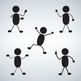 Various Standing Postures icon set stock illustration