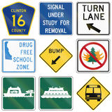 Various state law road signs used in the US Royalty Free Stock Photos