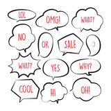 Various stickers of black line speech bubbles vector set with red text - stock vector stock illustration