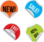 Various stickers with discounts Stock Images