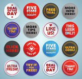 Various stickers, labels and buttons Stock Photos