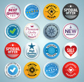 Various stickers, labels and buttons Stock Images