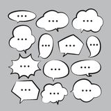 Various stickers of white speech bubbles vector set with triple dots - stock vector royalty free illustration