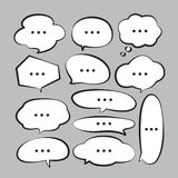 Various stickers of white speech bubbles vector set with triple dots - stock vector vector illustration