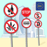 Various street signs ban. Signs of the ban on the background of high buildings Stock Photography