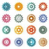 Various style color gears set Royalty Free Stock Images