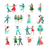 Various style dancing man icons Stock Image
