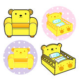 Various styles of Baby Crib and sofa Sets. Baby and Children Goo Stock Photography
