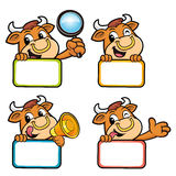 Various styles of Bull Character Design. Stock Photo