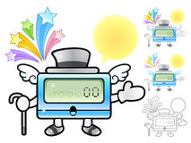 Various styles of Clock Mascot Sets. Appliances Items Character Stock Photo