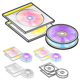 Various styles of Compact Disk Sets. Household Items Vector Icon Royalty Free Stock Photo