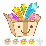 Various styles of Delivery Box Mascot Sets. Product and Distribu Stock Images