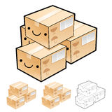 Various styles of Delivery Box Mascot Sets. Product and Distribu Stock Image