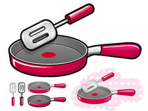 Various styles of Frying pan Sets. Kitchen utensils Vector Icon Stock Photo
