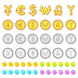 Various styles of Gold coin Sets. Economy and Finance Vector Ico Stock Photo