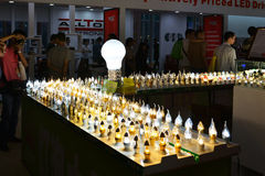 Various styles  LED Bulb lighting, energy saving and green  light source,In  lighting exhibition Stock Image