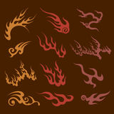 Various styles of lightning and fire emblem Sets. Royalty Free Stock Image