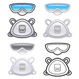 Various styles of Mask and Goggles Sets. Industrial market Items Stock Photo