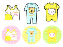 Various styles of Rompers and Tshirt Sets. Baby and Children Goo Royalty Free Stock Images
