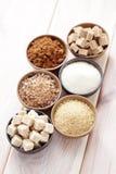 Various sugar. Lots of various brown sugar - food and drink Stock Image