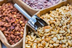 Various sugared nuts. Crispy Sugared Nuts. Oriental sweets with a variety of nuts. Various sugared nuts. Crispy Sugared Nuts. Oriental sweets with a variety of stock image