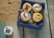 Various Summer Cupcakes Stock Image