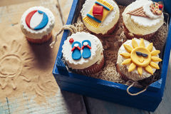 Various Summer Cupcakes Stock Images