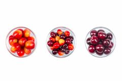 Fresh cherry on plate on Isolated white background. fresh ripe cherries. sweet cherries. Top view. Various summer Fresh berries in a bowl. Antioxidants, detox Stock Photo