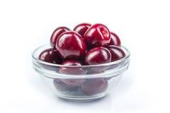 Fresh cherry on plate on Isolated white background. fresh ripe cherries. sweet cherries. Berries. Various summer Fresh berries in a bowl. Antioxidants, detox Stock Photography