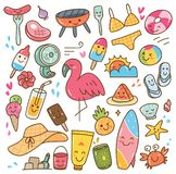 Various summer kawaii doodle set. Can be use as background, wallpaper, and other creative purposes royalty free illustration